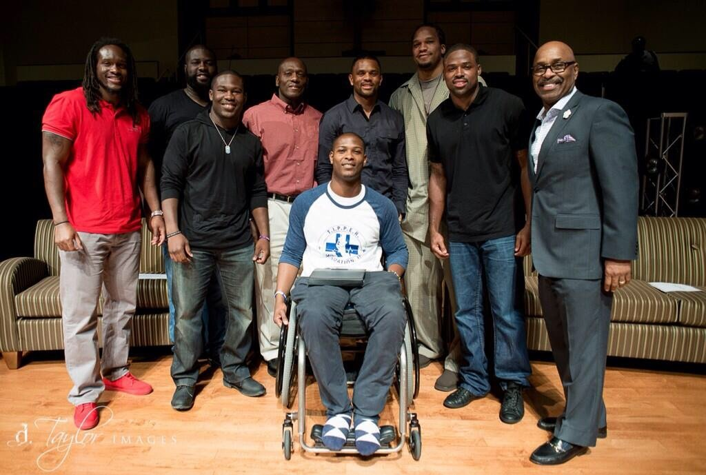 Baltimore Ravens Players Torrey Smith, Josh Bynes, Justin Forsett, Kapron Lewis-Moore, NBA Veterans Juan Dixon and Etan Thomas, Bishop W.S. Thomas and Tipper.